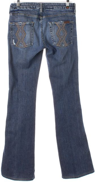 7 FOR ALL MANKIND Blue Light Wash Distressed Flare Jeans