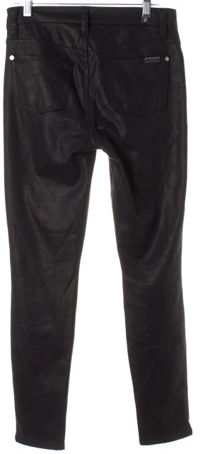 7 FOR ALL MANKIND Black Textured Coated Skinny Jeans