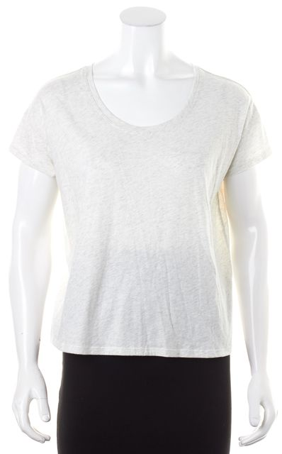 7 FOR ALL MANKIND Heather Gray Ivory Basic Short Sleeve Tee