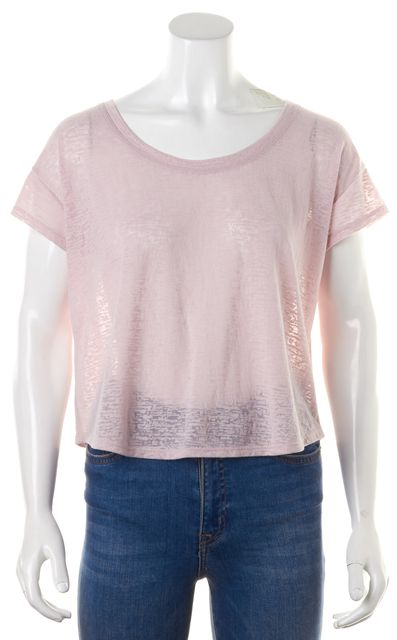 7 FOR ALL MANKIND Pink Burn-Out Cap Sleeve Basic T-Shirt