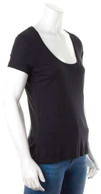 7 FOR ALL MANKIND Black Solid Scoop Neck Basic Short Sleeve T-Shirt