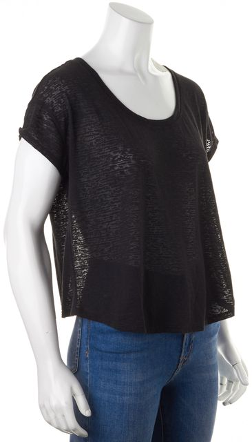 7 FOR ALL MANKIND Black Burnout Jersey Relaxed Fit Basic Tee T-Shirt