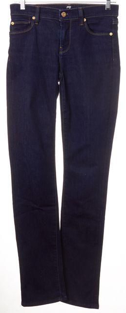 7 FOR ALL MANKIND Blue Dark Wash Denim Straight Leg Jeans