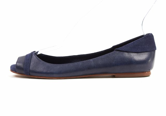 7 FOR ALL MANKIND Dark Blue Half Suede Open Toe Leather Flats