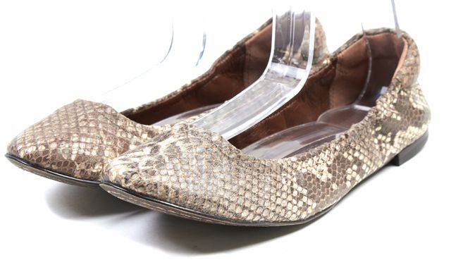 7 FOR ALL MANKIND Brown Beige Snake Scale Embossed Leather Ballet Flats