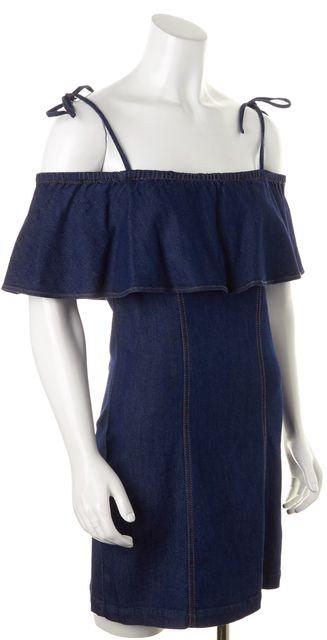 7 FOR ALL MANKIND Blue Stretch Denim Off-Shoulder Bodycon Mini Dress