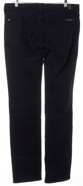 7 FOR ALL MANKIND Black Stretch Cotton Mid-Rise Straight Leg Jeans