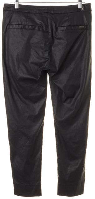 7 FOR ALL MANKIND Black Wax Coated Cropped Casual Pants