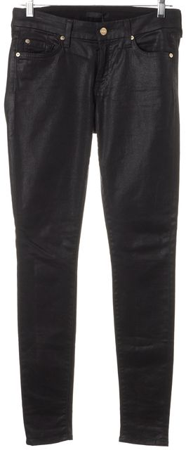7 FOR ALL MANKIND Black Stretch Cotton Coated Legging Pants