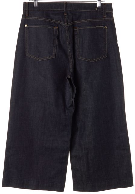 7 FOR ALL MANKIND Blue Dark Wash High Waist Cropped Culottes Jeans