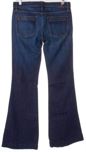 7 FOR ALL MANKIND Blue Whiskered Mid-Rise Flare Jeans