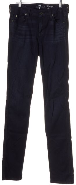 7 FOR ALL MANKIND Blue Dark Wash Kimmie Straight Mid-Rise Leg Jeans