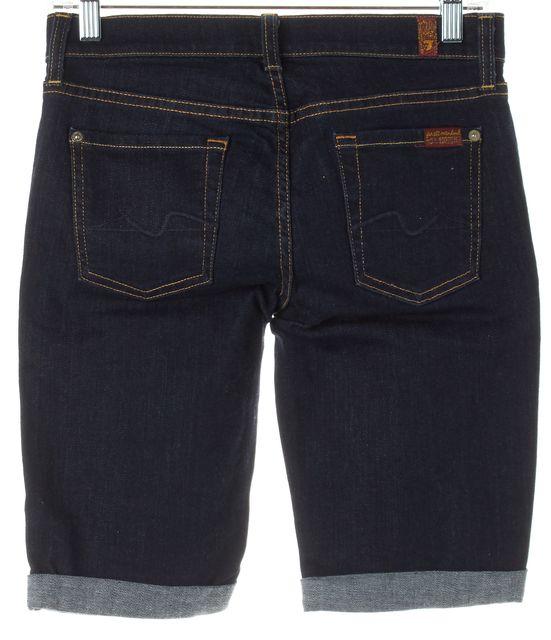 7 FOR ALL MANKIND Blue Dark Wash Cuffed Denim Shorts