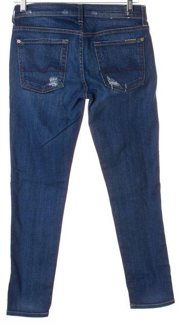 7 FOR ALL MANKIND Blue Distressed Josefine Mid-Rise Boyfriend Skinny Jeans