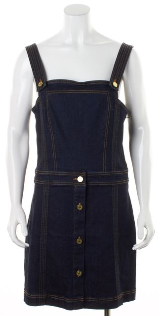 7 FOR ALL MANKIND Blue Stretch Cotton Denim Pinafore Sheath Dress