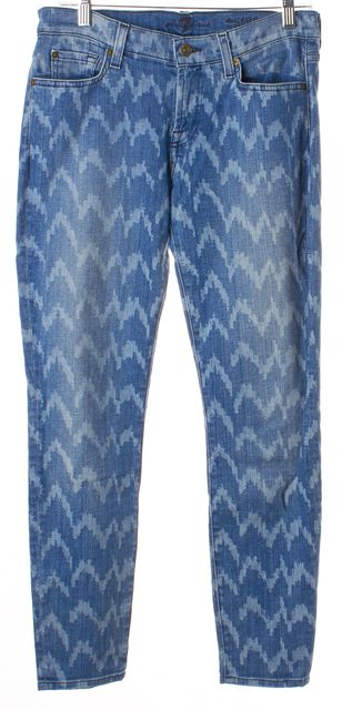 7 FOR ALL MANKIND Blue Denim Chevron Pattern Cropped Skinny Jeans