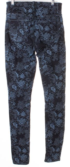 7 FOR ALL MANKIND Blue Dark Wash Floral Embroidered Skinny Jeans