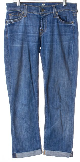 7 FOR ALL MANKIND Blue Cuffed Denim The Skinny Crop & Roll Jeans