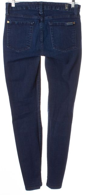 7 FOR ALL MANKIND Dark Blue Mid-Rise Skinny Jeans