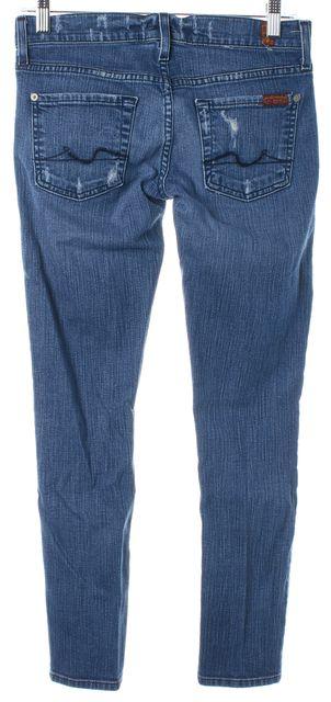 7 FOR ALL MANKIND Blue Medium Wash Cotton Roxanne Flood Skinny Jeans