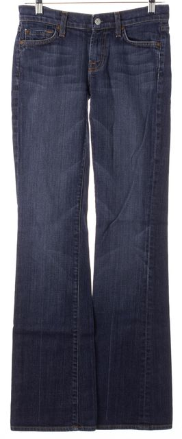 7 FOR ALL MANKIND Blue Medium Wash Mid-Rise Flare Boot Cut Jeans