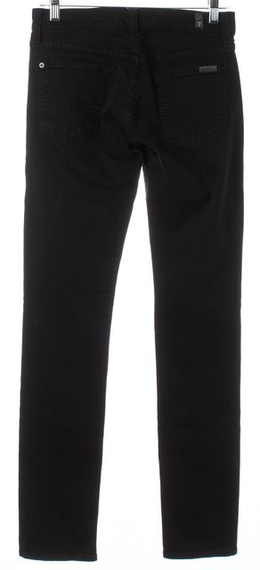 7 FOR ALL MANKIND Black Solid Cotton Mid-Rise Roxanne Skinny Jeans