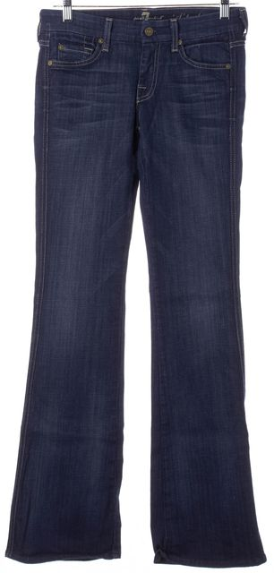 7 FOR ALL MANKIND Blue Medium Wash Beaded A Pocket Mid-Rise Flare Jeans