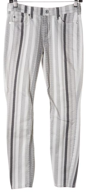7 FOR ALL MANKIND Gray White Striped Cropped Skinny Jeans