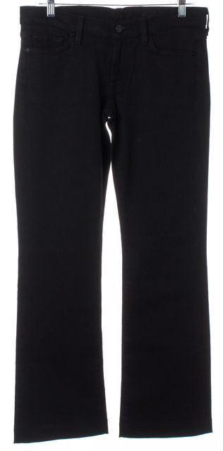 7 FOR ALL MANKIND Black Stretch Cotton Denim Boot Cut Jeans
