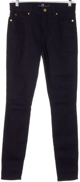 7 FOR ALL MANKIND Blue Dark Wash Stretch Cotton Gwenevere Skinny Jeans