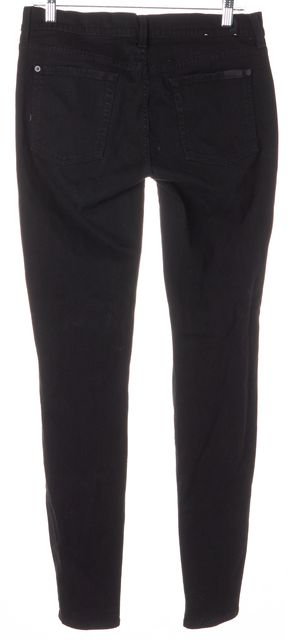 7 FOR ALL MANKIND Black Stretch Cotton Mid-Rise Skinny Jeans
