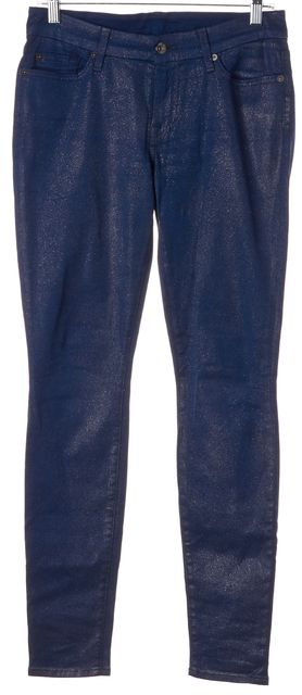 7 FOR ALL MANKIND Blue Silver Shimmer The Skinny Pants