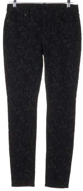 7 FOR ALL MANKIND Green Black Floral Lace Gwenevere Pants