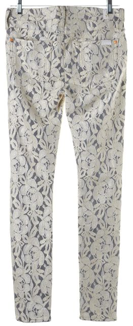 7 FOR ALL MANKIND Ivory Black Lace Overlay Legging Pants