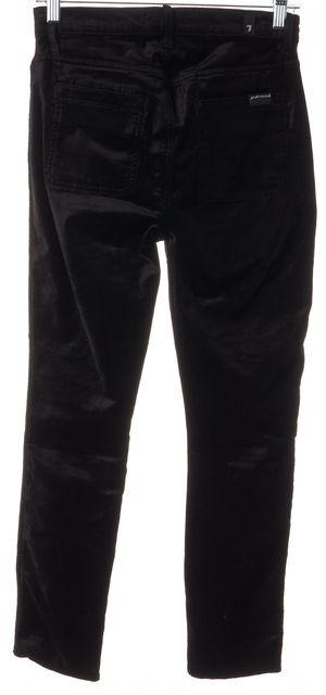 7 FOR ALL MANKIND Black Velvet High Waisted Skinny Leg Trousers Pants