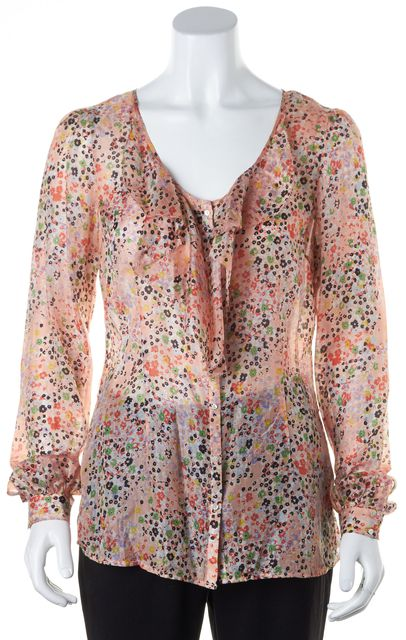 7 FOR ALL MANKIND Pink Multi Floral Printed Silk Ruffled Blouse
