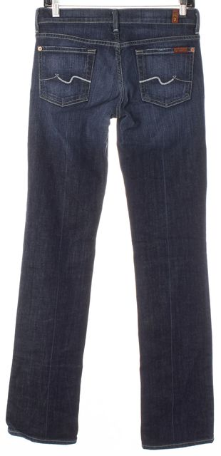 7 FOR ALL MANKIND Blue Stretch Cotton Denim Straight Leg Jeans