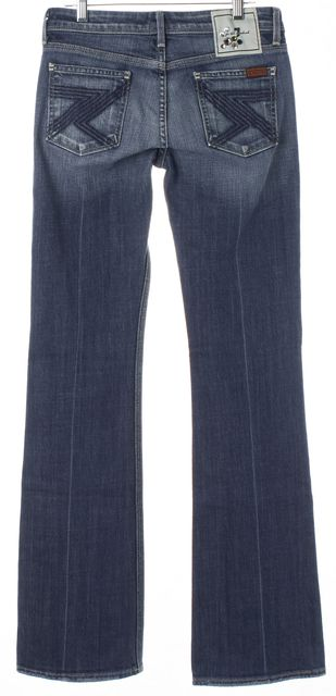 7 FOR ALL MANKIND Blue Medium Wash Flynt Ultra-Low Rise Flare Leg Jeans