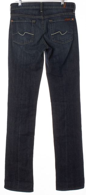 7 FOR ALL MANKIND Blue Dark Wash Denim Mid-Rise Straight Leg Jeans