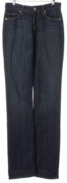 7 FOR ALL MANKIND Blue Dark Wash Denim Mid-Rise Straight Leg Jeans