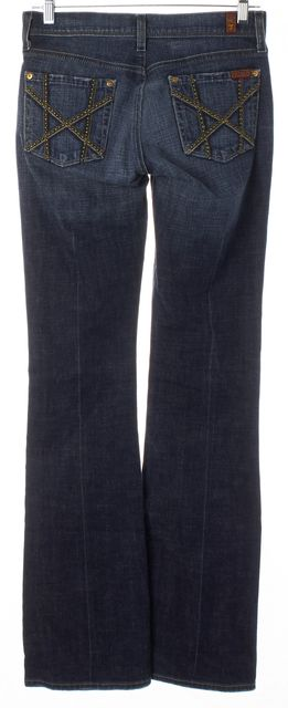 7 FOR ALL MANKIND Blue Medium Wash Ultra-Low Rise Mia Flare Jeans