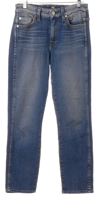 7 FOR ALL MANKIND Blue High Waist Ankle Straight Leg Jeans