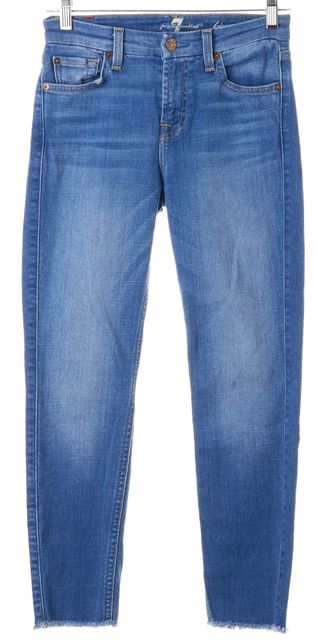 7 FOR ALL MANKIND Blue Stretch Cotton Kimmie Cropped Skinny Jeans