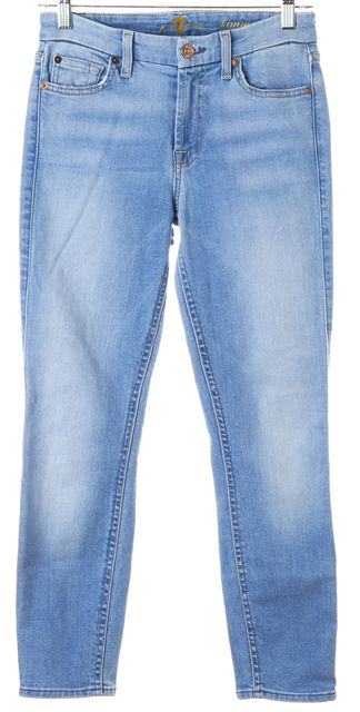 7 FOR ALL MANKIND Blue Light Wash Kimmie Crop Skinny Jeans