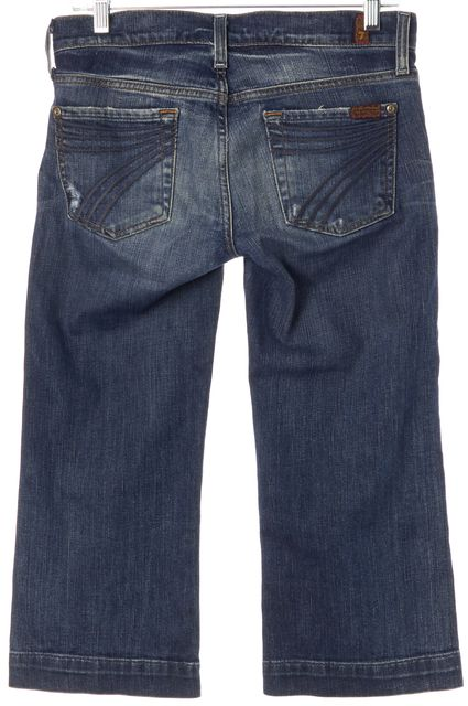 7 FOR ALL MANKIND Blue Stretch Cotton Cropped Relaxed Jeans