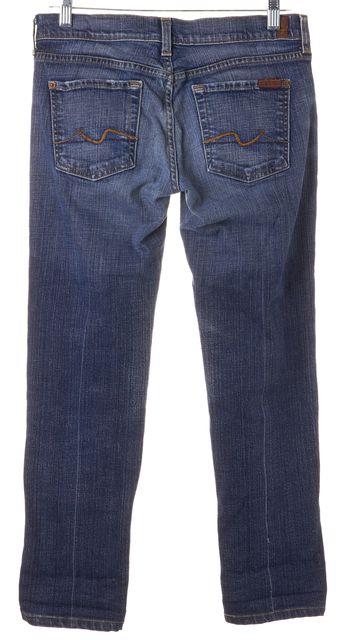 7 FOR ALL MANKIND Blue Stretch Cotton Straight Leg Jeans