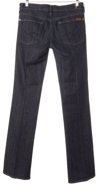 7 FOR ALL MANKIND Blue Stretch Cotton Dark Wash Boot Cut Jeans