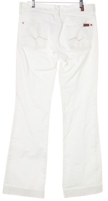7 FOR ALL MANKIND White Cotton Mid-Rise Flare Jeans