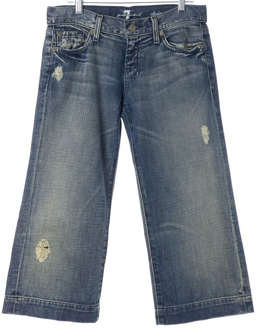 7 FOR ALL MANKIND Blue Cotton Dojo Flared Cropped Jeans