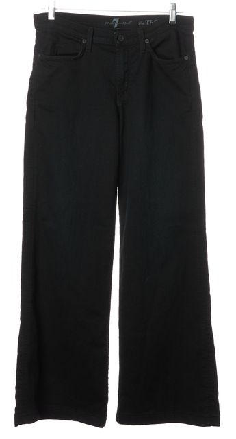 7 FOR ALL MANKIND Navy Blue Wide Leg Trousers Pants